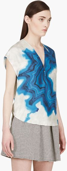 3.1 Phillip Lim Blue Silk Geode Print V_neck Tunic - Lyst