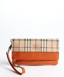 Burberry Burnt Amber and Nova Check Leather Foldover Clutch - Lyst