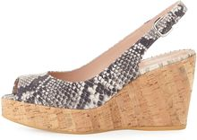 Stuart Weitzman Jean Snakeprint Cork Wedge Natural Made To Order - Lyst