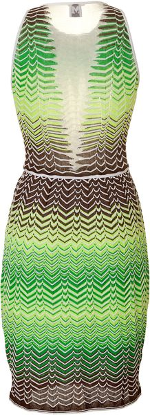 M Missoni Variegated Knit Dress with Sheer Back Panel - Lyst