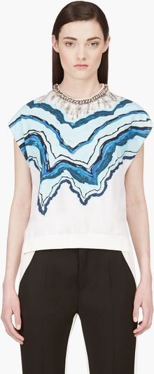 3.1 Phillip Lim White Rock and Wood Painterly Geode Print Top - Lyst