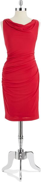 Vera Wang Cowl Necked Sheath Dress - Lyst