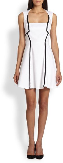 Nicole Miller Piped Piquã Dress - Lyst