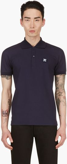 Burberry Prorsum Navy Removal Flower Pin Polo Shirt - Lyst