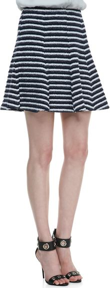 Theory Lyerly Flared Striped Knit Skirt - Lyst