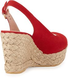 Stuart Weitzman Jean Suede Jute Wedge Red Made To Order - Lyst