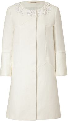 Matthew Williamson Cottonlinen Embellished Collar Coat - Lyst