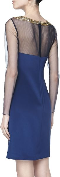 Notte By Marchesa Longsleeve Beadedneck Cocktail Dress Navy - Lyst
