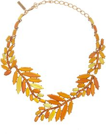 Oscar de la Renta Orange Marquise Resin Leaf Necklace - Lyst