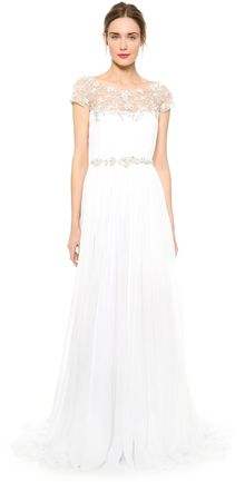 Marchesa Hand Pleated Chiffon Gown - Lyst