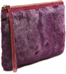 Pierre Hardy Burgundy Mink and Watersnake Clutch - Lyst