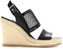 Balenciaga Mesh and Leather Espadrille Wedge Sandals - Lyst