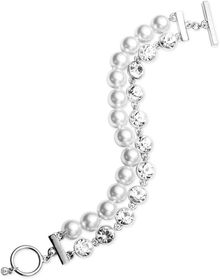 Givenchy Silvertone Glass Pearl and Crystal Tworow Toggle Bracelet - Lyst