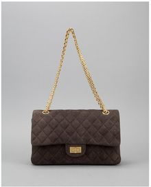 Chanel Preowned Brown Suede 255 Reissue 225 Bijoux Chain Double Flap Bag - Lyst