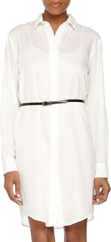 McQ by Alexander McQueen Buttonfront Longsleeve Chiffon Shirtdress White - Lyst