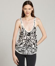 Love Sam White and Black Sleeveless Sequin Tank - Lyst