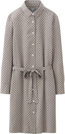 Uniqlo Women Rayon Print Long Sleeve Shirt Dress - Lyst