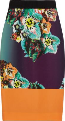 Milly Sea Blossom Printed Stretchneoprene Skirt - Lyst
