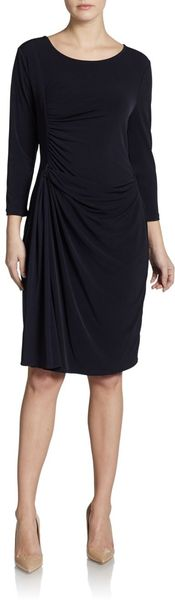 Ellen Tracy Longsleeve Ruched Dress - Lyst