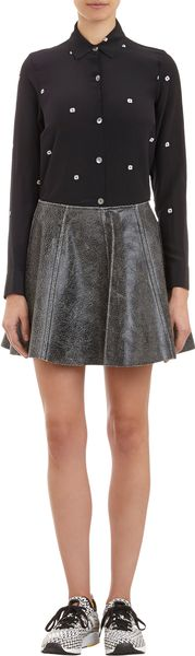 Opening Ceremony Crackleleather Flared Mini Skirt - Lyst