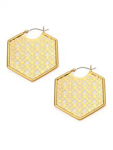 Tory Burch Perforated Logo Hoop Earrings - Lyst