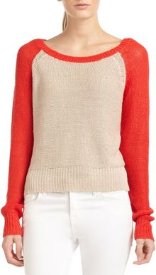 BCBGMAXAZRIA Risa Colorblock Knit Raglan Sweater - Lyst