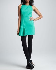 Milly Saxon Satin Panel Dress Clover - Lyst