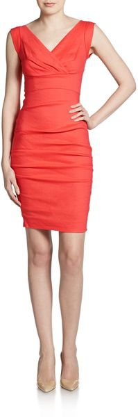 Nicole Miller Ruched Sheath Dress - Lyst