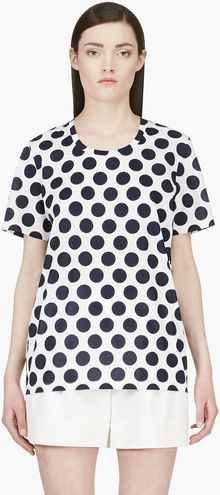 Burberry Prorsum Navy Polka Dot Scoop Neck Tshirt - Lyst