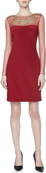 Notte By Marchesa Longsleeve Beadedneck Cocktail Dress Red - Lyst
