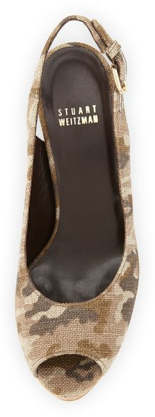 Stuart Weitzman Jean Linen Cork Wedge Tan Camo Made To Order - Lyst
