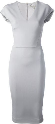 Victoria Beckham Vneck Fitted Dress - Lyst