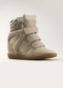 Isabel Marant Beige and Puffy Soft Leather Wedges Sneakers - Lyst