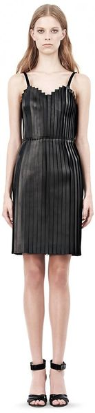 Alexander Wang Camisole Dress with Leather Stripped Front - Lyst