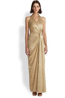 David Meister Pleated Halter Gown in Gold - Lyst