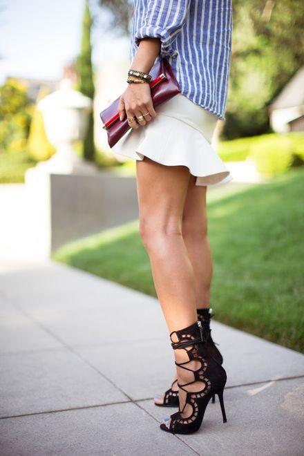 Striped Shirt and Ruffle Skirt