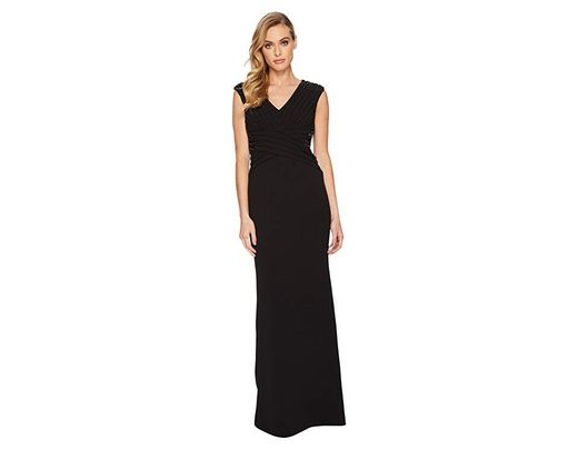75d9e2dda0740 Adrianna Papell Stretch Leger Gown With Beaded Accents At The Waist And  Shoulder (black) Dress in Black - Save 50% - Lyst