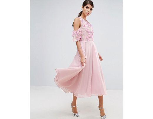 419ff0597a3107 ASOS Asos Cold Shoulder Floral Bodice Midi Skater Dress in Pink - Lyst