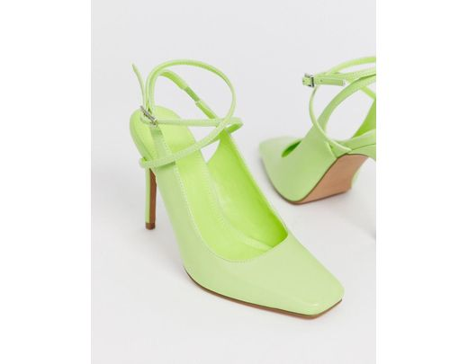 50e3b64a81790 ASOS Priceless Square Toe Stiletto Heels In Washed Neon Green in Green -  Lyst