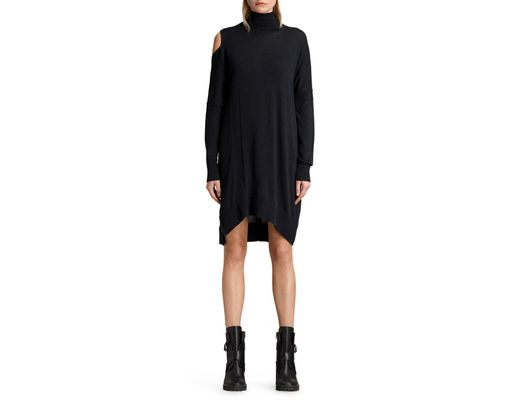 0aee57718b6 Lyst - AllSaints Cecily Turtleneck Sweater Dress in Black - Save 30%