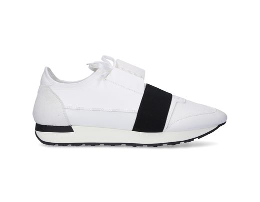 9310fef90991a Lyst - Balenciaga White And Black Race Runner Sneaker in White for Men -  Save 60%