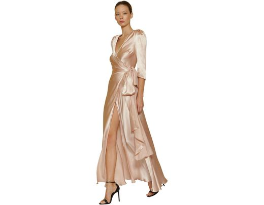 00b178650cb9 Maria Lucia Hohan Gizeh Silk Satin Long Dress in Natural - Lyst