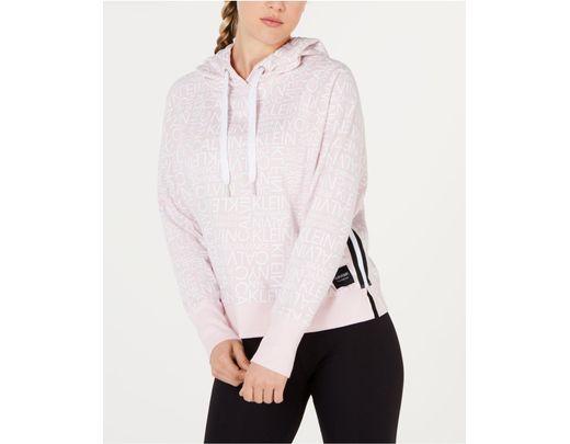 9cf70412b Lyst - Calvin Klein Performance Logo-print Varsity-stripe Hoodie in Pink