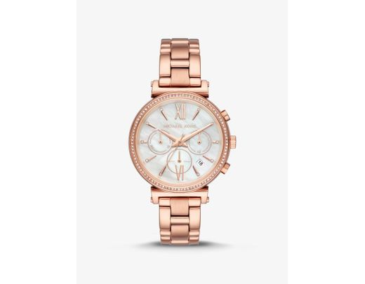 fbc6ba8f510f Lyst - Michael Kors Sofie Pave Rose Gold-tone Watch in Pink - Save 44%