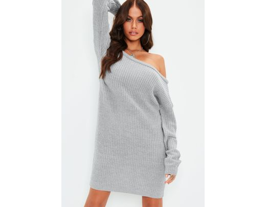 5068a6378d Missguided Gray Off Shoulder Knit Sweater Dress in Gray - Save 46 ...
