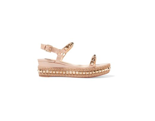 74509a44f556 Christian Louboutin Cataclou 60 Embellished Patent-leather Wedge ...