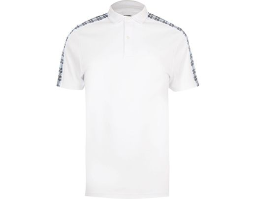 d142424c Lyst - River Island Big And Tall Check Slim Fit Polo Shirt in White ...