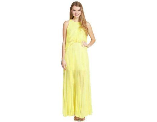 53f7767b11d Lyst - BCBGMAXAZRIA Jenine Neon High Split Pleated Skirt Maxi Dress ...