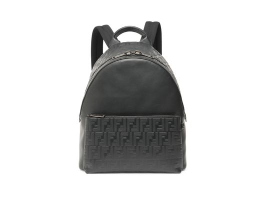 f83675a9be2d Long-Touch to Zoom. Fendi - Men s Leather Logo Embossed Backpack - Black ...