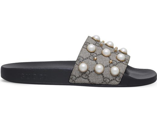 1af53979a15 Lyst - Gucci Pursuit Pearl-embellished Rubber Slider Sandals